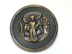 Antique Brass Shank Button Geisha Lady With Parasol Round 1 3/8 Inch