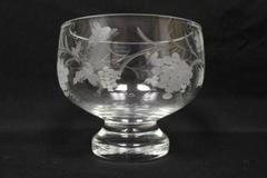 Peter Leek Heavy Handcrafted Footed Crystal Bowl Etched Grape Design Sweden
