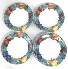 Lot of 4 Vintage Victoria & Beale Porcelain Soup Bowls Forbidden Fruit 9024