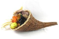 Wicker Cornucopia Filled With Fruits Vegetables Fall Display Dried Corn Pears