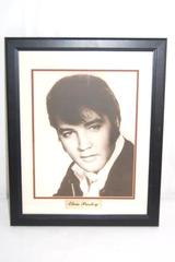 Framed Elvis Picture Matted Black And White Print of A Young Elvis Brass Plaque