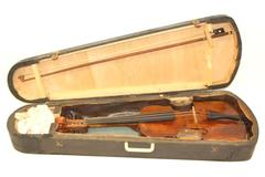 Antique 4/4 Violin With Black Coffin Type Wood Case For Restoration Or Repair