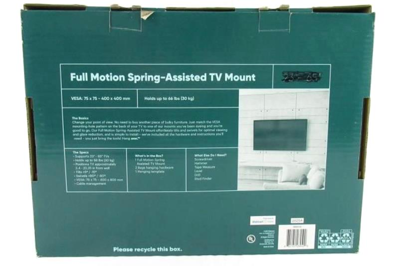Hang Onn 20-40 In Full Motion Spring Assisted TV Mount Hardware Included Manual