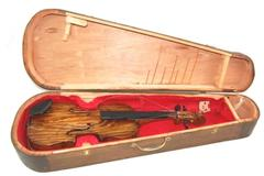 Antique 3/4 Violin With Brown Coffin Type Wood Case For Restoration Or Repair