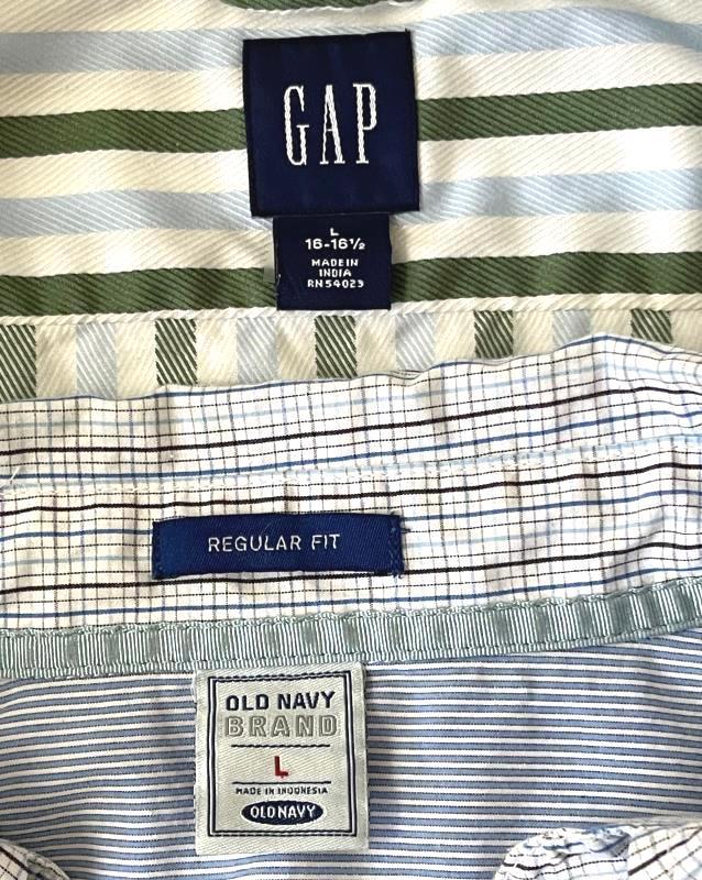 Lot of 2 Old Navy And Gap Dress Shirts Top Stripes Plaid Multi Color Men's Sz L