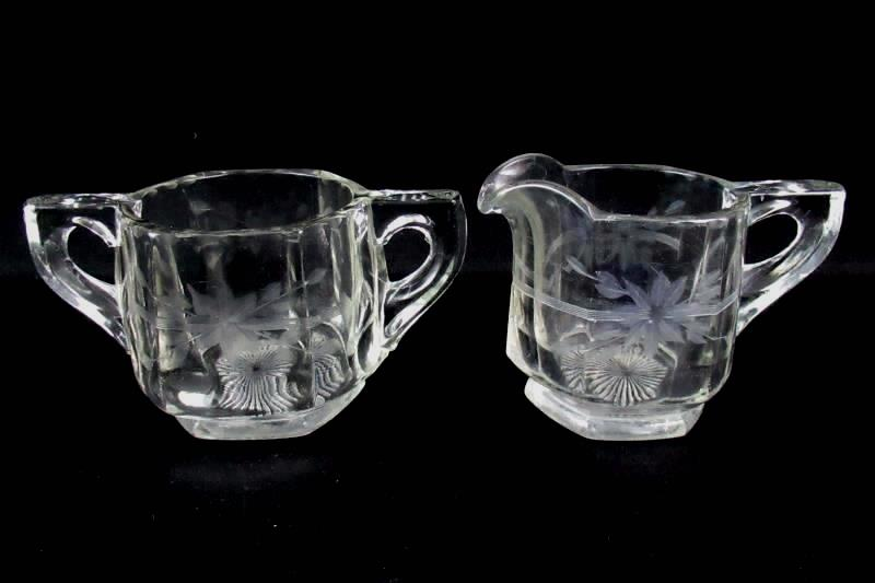 Heavy Hexagon Shaped Crystal Creamer and Sugar Bowl Set Etched Flower Design