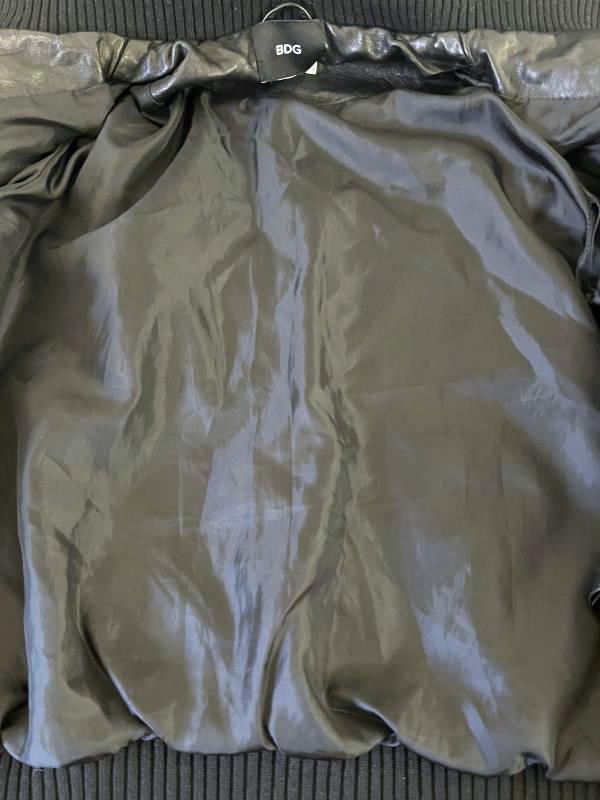BDG Jacket Faux Leather Coat Black Lined Short Full-Zip Women's Size S-P