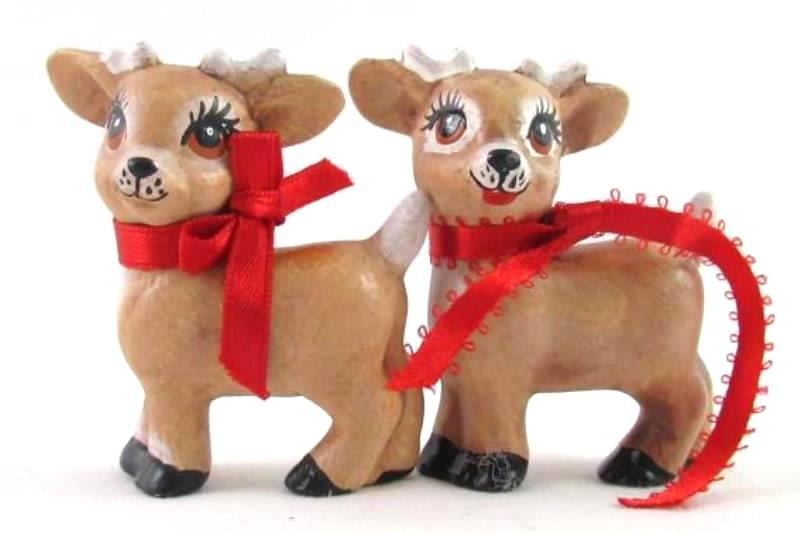 """Lot of 2 Ceramic Reindeer Christmas Ornaments 2.75"""" Tall Decoration"""