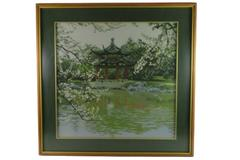 1985 Framed Chinese Needlepoint Complete Embroidery China Scene Art Piece