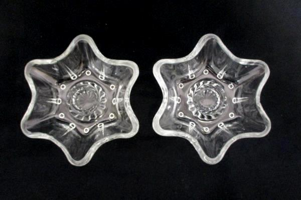 2 Vintage 6 Rounded Point Star or Flower Clear Glass Candle Holder w/ Ball Feet