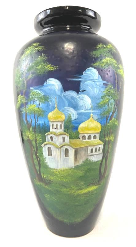 """Vintage Unknown Brand Vase Black Russian Hand Painted Church Mural Height 13.5"""""""