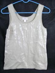 LOFT Petites Women's Tan Sequin Tank Top Size SP