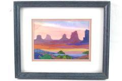 Framed Arizona Landscape 3D Fabrication Textile Art Piece By Mary Jardine