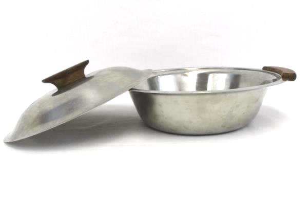 Lot of 2 MCH 18-8 Stainless Steel Serving Bowls One Lidded Wood Handles