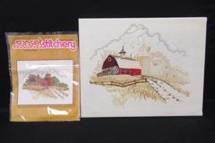 1977 Framed Sunset Stitchery Country Barn Cross Stitch Incomplete 2481