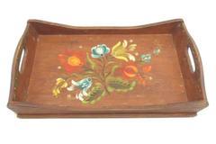 """Vintage Norwegian Rosemaling Handled Wood Tray 17.75"""" x 10.5"""" Flowers"""
