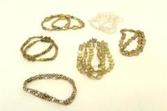 Lot of 12 White Frosted Gold Tone Elastic Bracelet Costume Party Fun Accessories