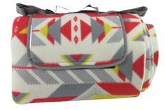 Picnic Blanket Mat Fleece Fold And Carry Handles Beach Geometric Red Grey Yellow
