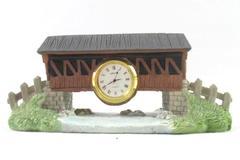 Saltone Quarts Bridge Figure Table Clock Village Decor Ceramic Velvet Bottom