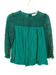 MOULINETTE SOEURS Lace Cloaked Blouse in Green Sz 2 Anthropologie