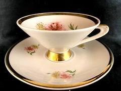 Bavaria Porcelain Chrysanthemum Footed Cup Saucer White Gold Gild