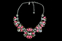 Kate Spade Frosty Floral Necklace Rhodium Plate Pink and Crystal Short Bib