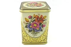 Floral Bouquet Collector Hinged Lid Tin Made In England  Empty