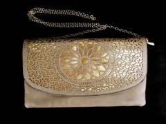 Melie Bianco Purse Convertible Crossbody Clutch Tan & Gold Lazer Cut ~RENEE
