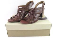 Clarks Ralene Luster Heeled Sandals Women's Size 9 M Dark Tan Leather
