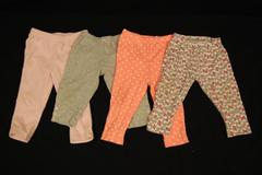 Lot of 4 Baby Girls Bottoms Infant Size 12 Months Sweats Just One You Carters