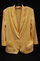 Vintage Jaclyn Smith Pale Yellow Blazer Jacket Women's Size 16 Shoulder Pads