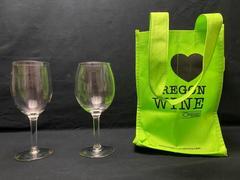 Oregon Wine Press I Love Oregon Wine Bottle Tote Bag 2 Wine Glasses Lime Green