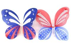 Lot of 2 Patriotic USA Red White Blue Butterfly Wings Costume Party Halloween