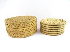Set Of 6 Round Bamboo Coasters With Storage Box Home Décor