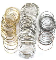 Lot of 1.70 Lbs Of Bangle Bracelets Metal Silver Black Gold Copper 150+