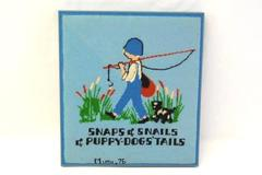 Completed Framed Needlepoint 1976 Snaps Snails Puppy Dog Tails Blue 14in Square