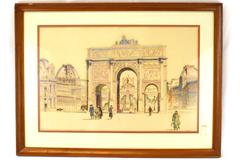 Vintage Framed Punch Mark Arc De Triomphe Du Carrousel Watercolor Signed