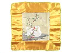 Embroidered Throw Pillow Case Satin Swan In Lake Zip Closure Orange Gold