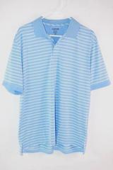 IZOD Blue White Striped Polo Shirt Men's Size Large Performance