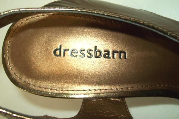 Dressbarn Bronze Open Toe Heels Pumps Date Night Out Glam Size 7M