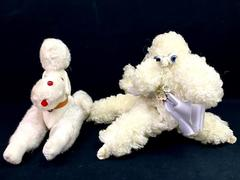 Lot Of Two Vintage Poodle Plush Toys Dogs Animals White