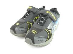 Batman Light Up Sneakers Boy's Size 1 Slip On With Easy Fasten Strap