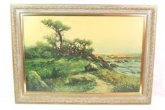 Vintage Robert Wood Laguna Coast Reproduction Print Canvas Framed 24in X 36in