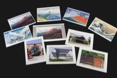 Lot of 9 Vintage Unused Post Cards Japan 5 ea Hokusai 4 ea Koedo