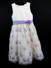 American Princess Dress Ivory Formal Embroidery Purple Green Floral Girl's Sz 10