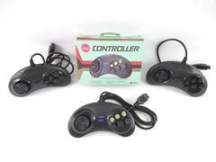 Lot of 4 Black Controllers For Sega Saturn 1995 Wired Genesis Tomee