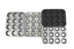Lot of 4 Muffin Pans Ecko Mirro Metal Shallow Each Holds 12 Cupcakes Muffins