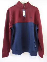 IZOD Pullover Sweatshirt Maroon Navy Blue Men's Size M Fleece Zip Up Stretch NWT