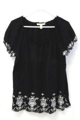 JM Collection Floral Embroidered Top Women's Size Large Black White Ruffle