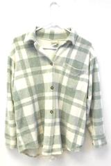 L.L. Bean Terrycloth Plaid Button Up Shirt Jacket Women's Size Small